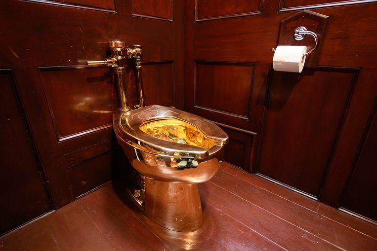 De gouden wc 'America' zoals het stond opgesteld in het Blenheim Palace in Woodstock, Groot-Brittannië. Het toilet is zondagochtend vroeg gestolen.  Beeld null