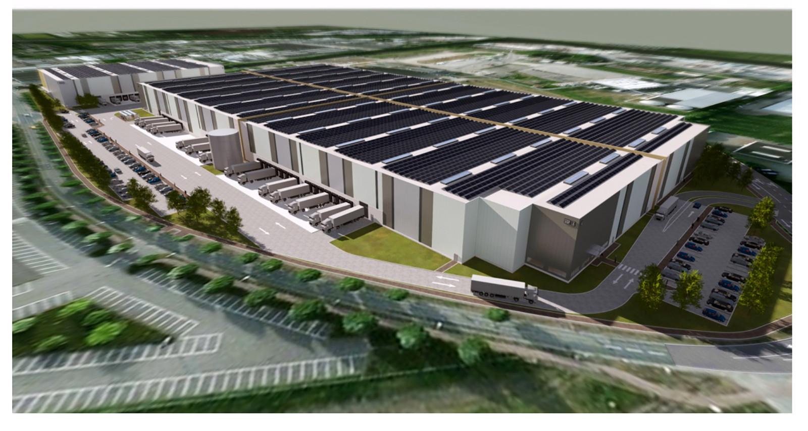 Het nieuwe logistiek centrum op Borchwerf in Roosendaal. Tekening VGP Groep