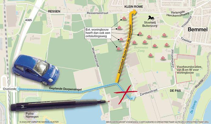 Het alternatieve plan voor de Dorpensingel, tussen de ovatonde en de Ressensestraat.