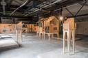 De expositie The Exploded View van de Dutch Design Week, in The New Block, 'clubhuis' voor circulair bouwen in wording, op Strijp-S aan de Glaslaan/Torenallee in Eindhoven.