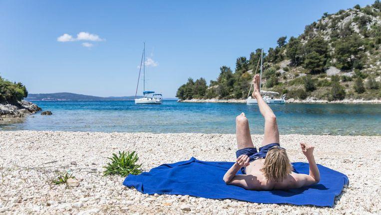 Voor Anker Gaan Met Een Jacht In Een Kroatische Baai De