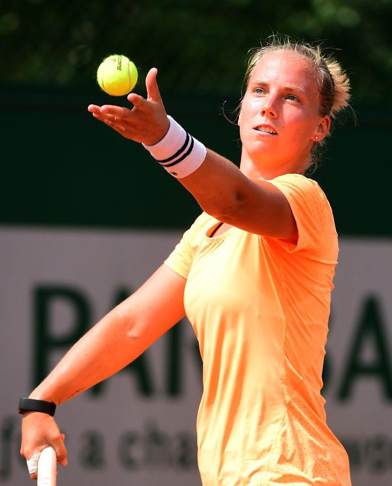 Richèl Hogenkamp versloeg de voormalige mondiale nummer één Jelena Jankovic in twee sets. Beeld EPA