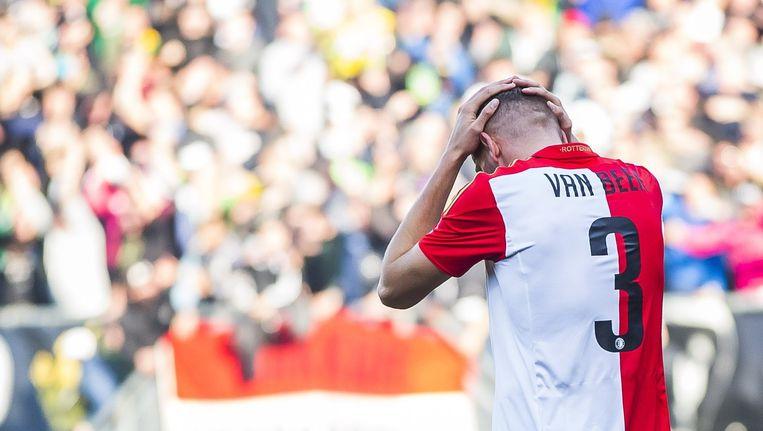 Feyenoord-speler Sven van Beek na zijn eigen goal tegen ADO. Beeld anp