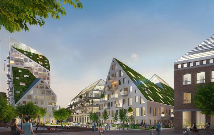 Plan Nieuw Bergen van SDK Vastgoed e.a. gezien vanaf de kant van de Grote Berg met de schuine daken en de 62 meter hoge toren aan de Edenstraat. Illustratie SDK Vastgoed BV