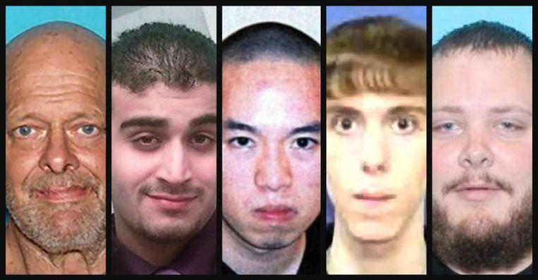 De daders van de dodelijkste vijf schietpartijen in de Amerikaanse geschiedenis.