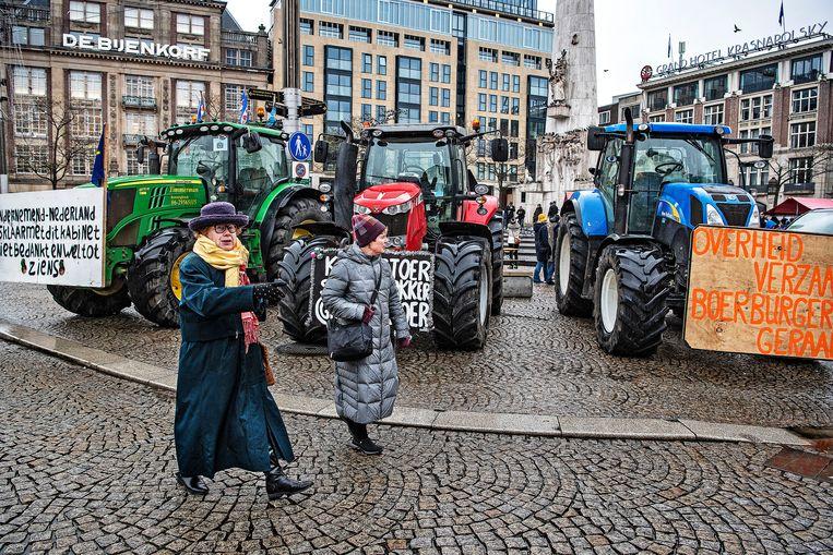 Het boerenprotest van Agractie op de Dam.  Beeld Guus Dubbelman / De Volkskrant