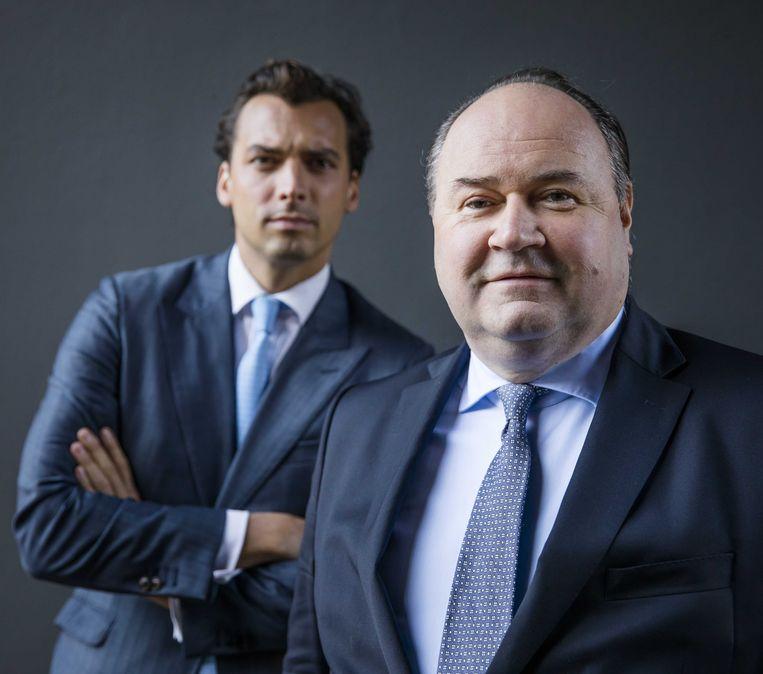 Portret van Forum voor Democratie-leider Thierry Baudet (links) en Henk Otten