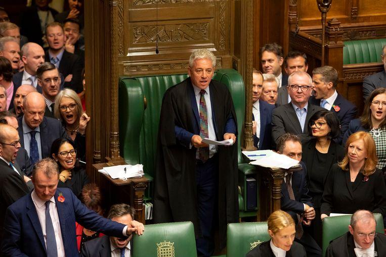 De voorzitter van het Lagerhuis, John Bercow, dinsdag tijdens het debat dat leidde tot tussentijdse verkiezingen op 12 december.  Beeld EPA