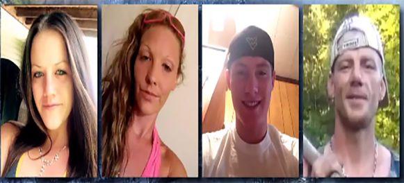 Vlnr: Kayla Williams (25),  Erica Treadway (31), Cody Beverly (21) en Eddie Williams (43).