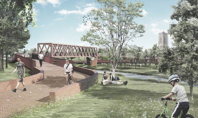 De nieuwe langzaamverkeersbrug over het Wilhelminakanaal in Oirschot.