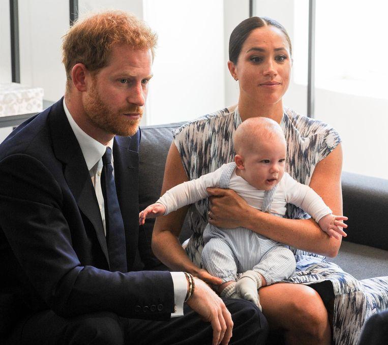 Harry, Meghan en baby Archie.