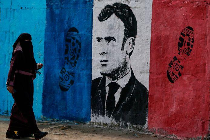Un portrait d'Emmanuel Macron à Gaza (Territoires palestiniens)