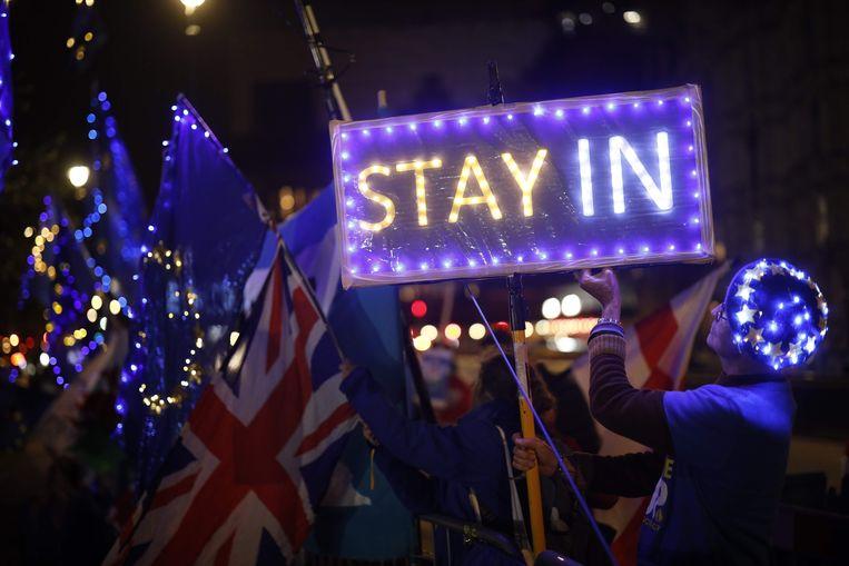 Antibrexit-betogers verzamelden zich gisteren voor het Britse parlement in Londen.