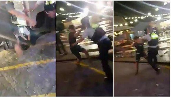 Enkele screenshots uit het filmpje van de vechtpartij.