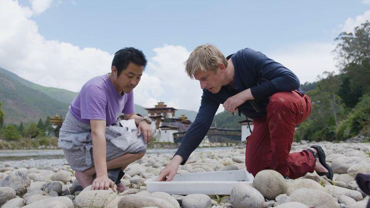 Vincent Kalkman (rechts) is in Bhutan op zoek naar nog onontdekte soorten. Beeld NTR
