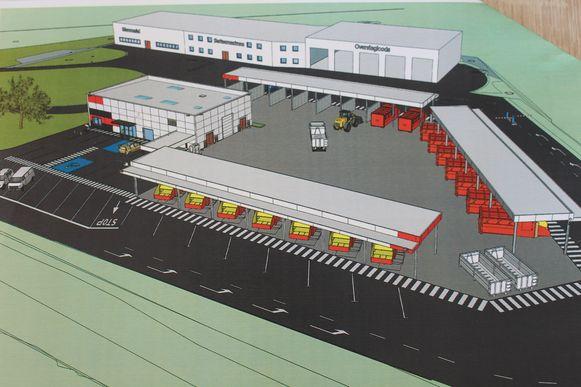 Toekomstbeeld van de site, het dierenasiel komt links achteraan, in het gebouw daarnaast is ruimte voor een kringloopwinkel