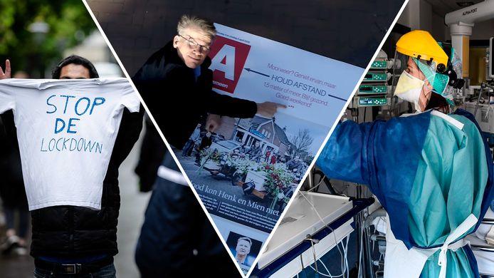 Demonstranten tegen de lockdown, hoofdredacteur Hans Nijenhuis op straat in de dronevideo boven Den Haag en een onderzoeker die bezig is met een vaccin.