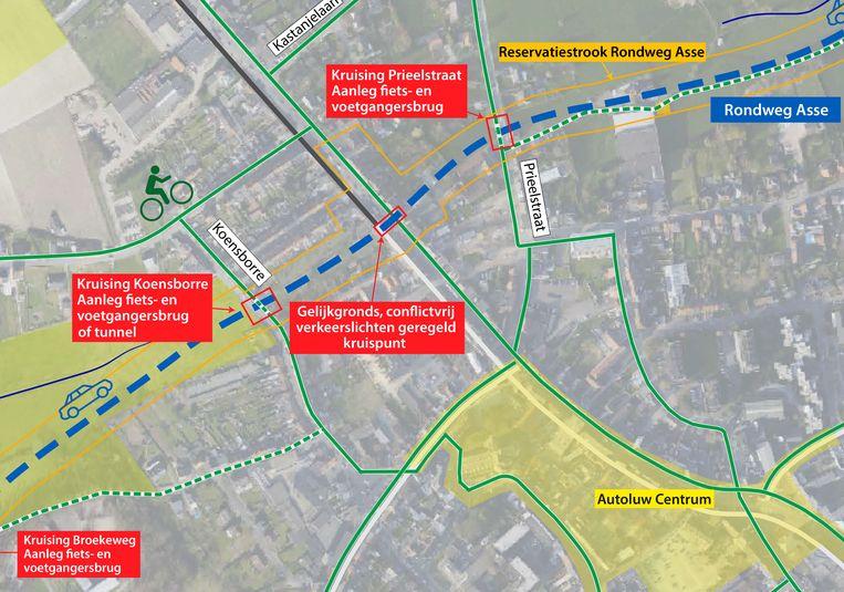 Ter hoogte van de Kalkoven (N9) komt uiteindelijk geen tunnel, maar een kruispunt met verkeerslichten.