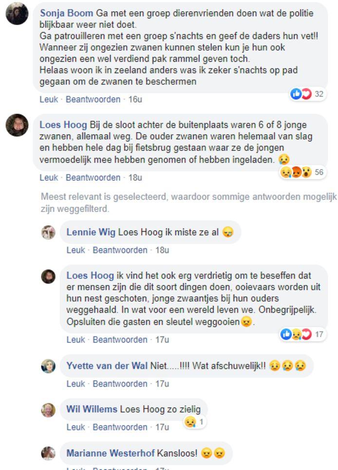Onder het Facebookbericht van Dierennoodhulp Flevoland regent het reacties.