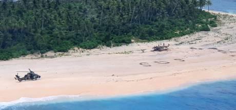 Gestrande zeelieden levend en wel gevonden dankzij SOS in het zand