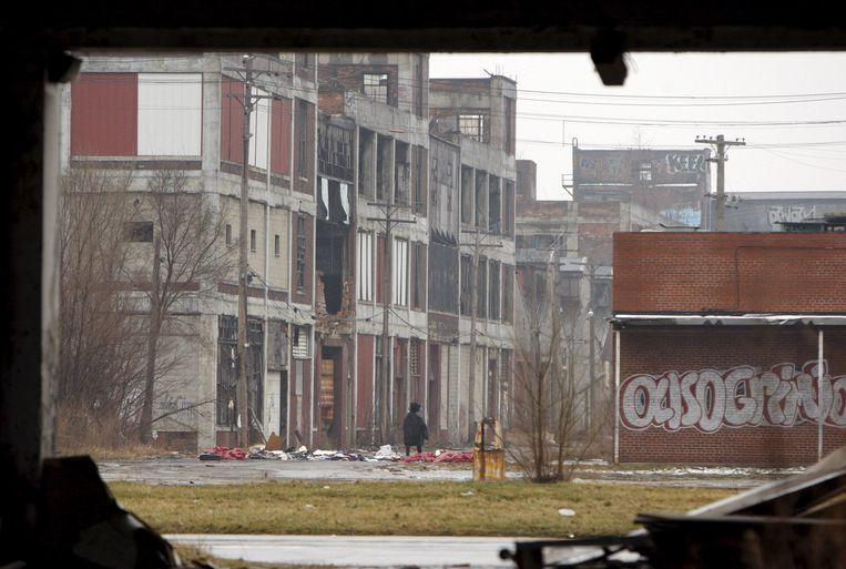 Een verlaten fabriek in Detroit, Michigan. Beeld EPA