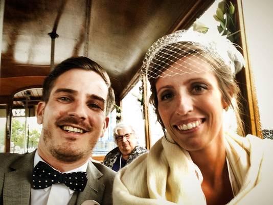 Evert en Evelyn op hun huwelijk.
