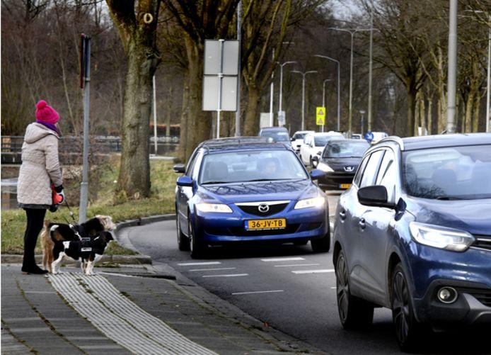 Archieffoto: drukte op de route tussen Vianen en Lexmond tijdens de spits.