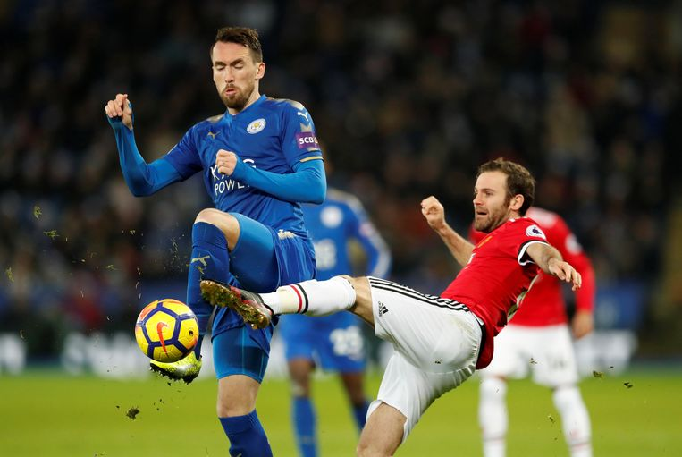 "Soccer Football - Premier League - Leicester City vs Manchester United - King Power Stadium, Leicester, Britain - December 23, 2017   Leicester City's Christian Fuchs in action with Manchester United's Juan Mata    Action Images via Reuters/Andrew Boyers    EDITORIAL USE ONLY. No use with unauthorized audio, video, data, fixture lists, club/league logos or ""live"" services. Online in-match use limited to 75 images, no video emulation. No use in betting, games or single club/league/player publications.  Please contact your account representative for further details."