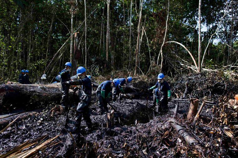 Werknemers van het Argentijnse bedrijf Pluspetrol ruimen de rotzooi op van een grote olielekkage in 2011 in het Amazonegebied. Beeld REUTERS