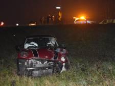 Auto valt van dijk na botsing op Van Heemstraweg bij Poederoijen, vrouw gewond