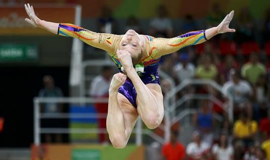 De Belgische turnster Gaëlle Mys tijdens de Olympische Spelen in Rio de Janeiro in 2016.