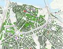 Ook de binnenstad van Nijmegen zijn daken asbestverdacht (pars is verdacht, rood is een asbestdak); het gaat in dorpen en steden vaak om kerkgebouwen.