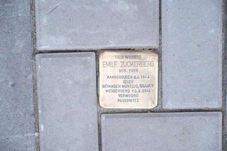 Antwerpen Een gedenksteen(tje) voor de gedeporteerde joden tijdens de oorlog.