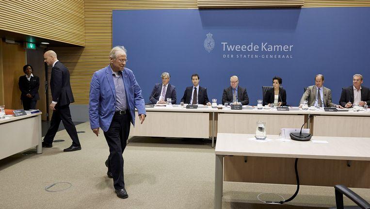 Marcel van Dam, oud-voorzitter Raad van Commissarissen bij het Waarborgfonds Sociale Woningbouw (WSW), verschijnt voor de parlementaire Enquetecommissie Woningcorporaties. Beeld null