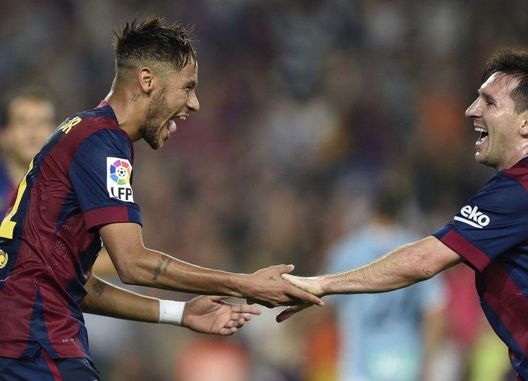 Neymar (links) en Lionel Messi. Beeld null