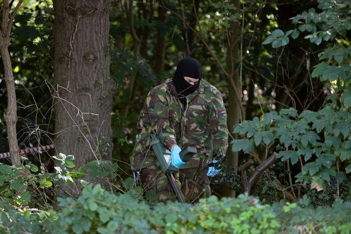 Militairen met metaaldetectoren en prikkers zijn nog druk bezig in het bosperceel waar dinsdagavond wapens werden gevonden.
