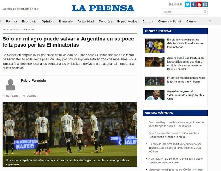Volgens La Prensa heeft Argentinië een mirakel nodig.