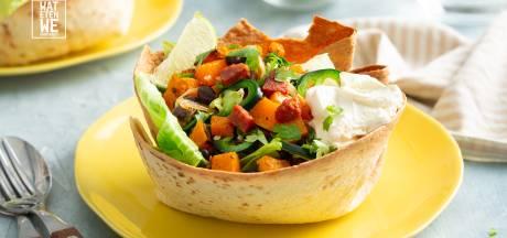 Wat Eten We Vandaag: Taco-bowl met chorizo en pompoen