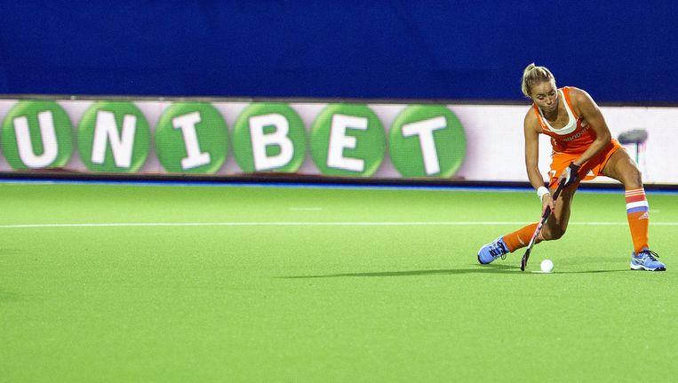 Unibet sponsering bij het EK hockey voor vrouwen in 2013 Beeld Jasper Ruhe / Proshots