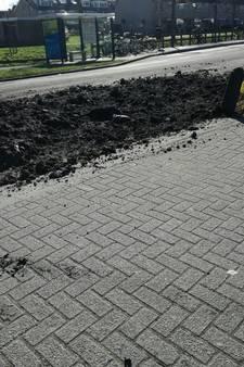Vrachtwagen laat baggerlaag achter in Wilnis