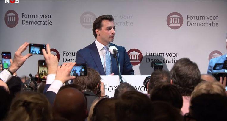 Thierry Baudet speecht op de verkiezingsbijeenkomst van Forum voor Democratie in Zeist. Beeld