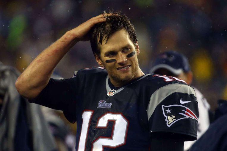 Brady tijdens het duel tegen de Indianapolis Colts op 18 januari. Beeld afp