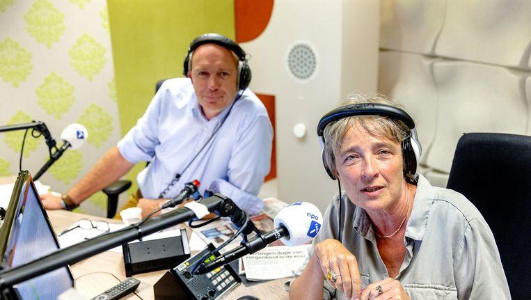 Clairy Polak en Menno Reemeijer tijdens een speciale uitzending in het kader van het twintigjarig bestaan van NOS Radio 1. Beeld anp