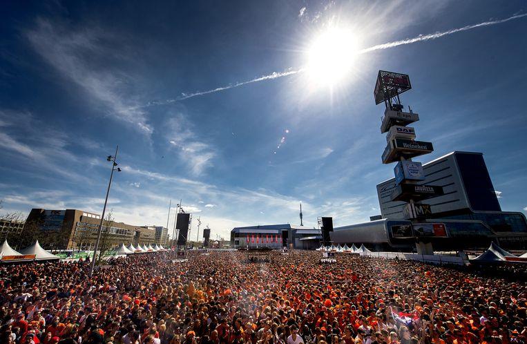 Een zonnige Koningsdag bij de Rai in Amsterdam vorig jaar Beeld anp