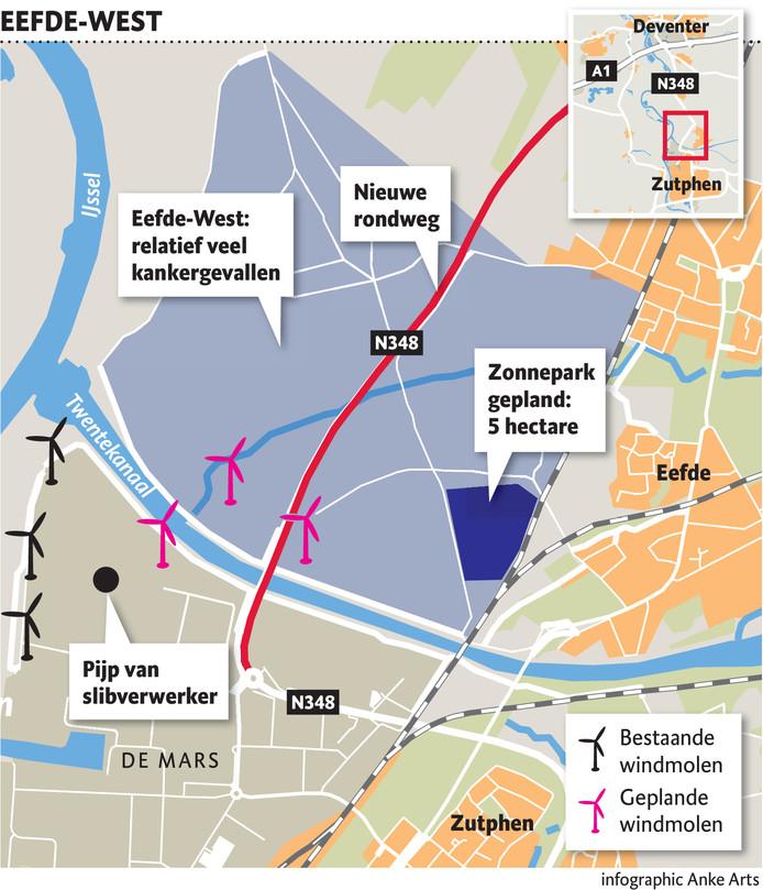 Het gebied in Eefde-West waar mensen zorgen hebben over het in hun ogen hoge aantal bewoners met kanker.
