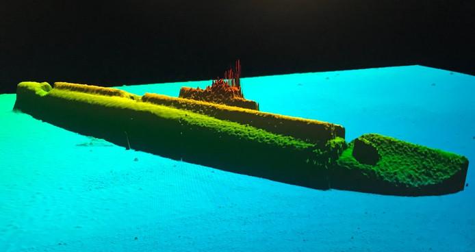 Een computerbeeld van de USS Grayback op basis van sonardata.