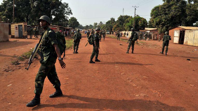 Militairen van de Afrikaanse vredesmacht in de Centraal-Afrikaanse Republiek, MISCA. Beeld AFP