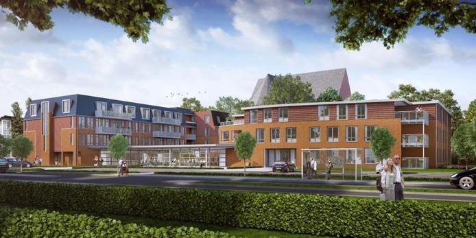 Zo moet het 'nieuwe' Berlerode eruit gaan zien. De entree komt aan de Sassenheimseweg. Nu zit die nog aan de Kerkwijk, waar ook de kerk zit.