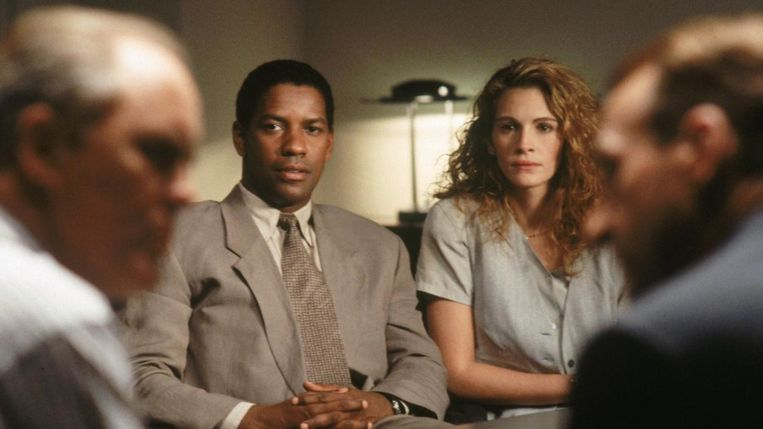 Denzel Washington en Julia Roberts in The Pelican Brief van Alan J. Pakula Beeld