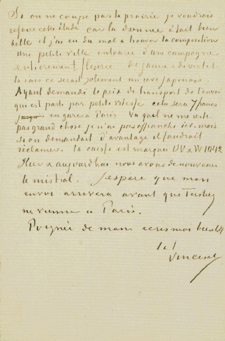 Detail van een brief van Vincent van Gogh aan zijn broer Theo, 12 mei 1888. (VAN GOGH MUSEUM , AMSTERDAM (VINCENT VAN GOGH STICHTING)) Beeld